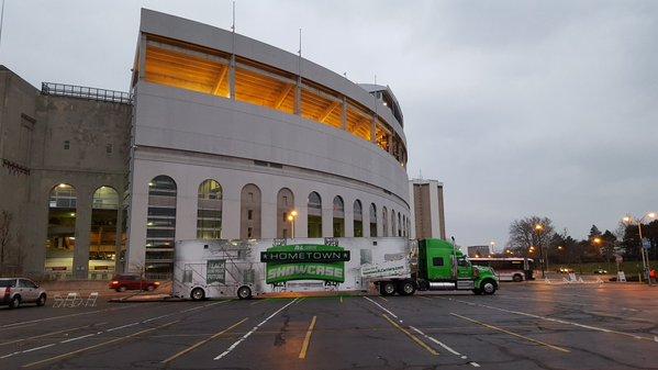 The Hometown Showcase trailer in front of Ohio Stadium.